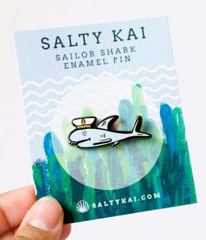 shark enamel pin
