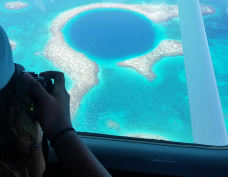 photographing the blue hole