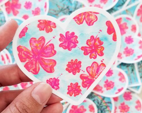 Hand holding flower paradise sticker