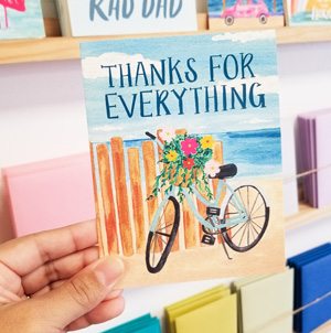Hand holding a thanks for everything card
